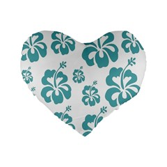 Hibiscus Flowers Green White Hawaiian Blue Standard 16  Premium Heart Shape Cushions by Mariart