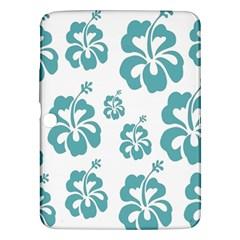 Hibiscus Flowers Green White Hawaiian Blue Samsung Galaxy Tab 3 (10 1 ) P5200 Hardshell Case  by Mariart