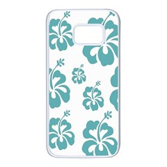 Hibiscus Flowers Green White Hawaiian Blue Samsung Galaxy S7 White Seamless Case