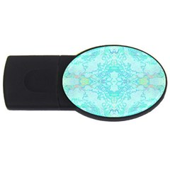 Green Tie Dye Kaleidoscope Opaque Color Usb Flash Drive Oval (2 Gb) by Mariart