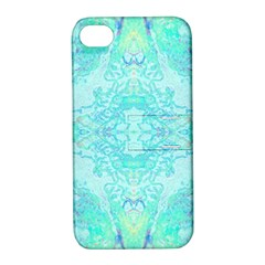Green Tie Dye Kaleidoscope Opaque Color Apple Iphone 4/4s Hardshell Case With Stand by Mariart