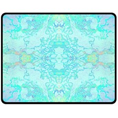 Green Tie Dye Kaleidoscope Opaque Color Double Sided Fleece Blanket (medium)  by Mariart