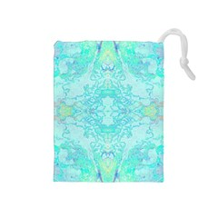 Green Tie Dye Kaleidoscope Opaque Color Drawstring Pouches (medium)  by Mariart