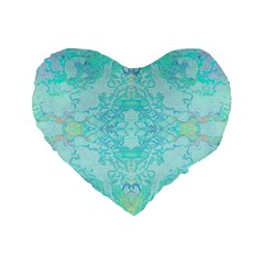 Green Tie Dye Kaleidoscope Opaque Color Standard 16  Premium Flano Heart Shape Cushions by Mariart