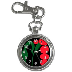 Illustrators Portraits Plants Green Red Polka Dots Key Chain Watches by Mariart