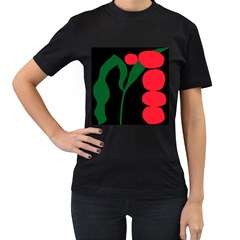 Illustrators Portraits Plants Green Red Polka Dots Women s T Shirt (black) (two Sided) by Mariart