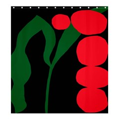 Illustrators Portraits Plants Green Red Polka Dots Shower Curtain 66  X 72  (large)  by Mariart