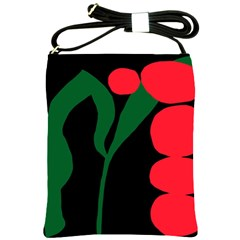 Illustrators Portraits Plants Green Red Polka Dots Shoulder Sling Bags by Mariart