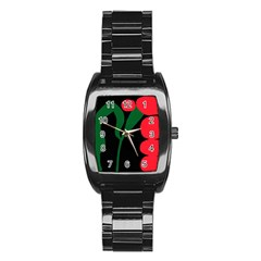 Illustrators Portraits Plants Green Red Polka Dots Stainless Steel Barrel Watch by Mariart