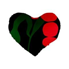 Illustrators Portraits Plants Green Red Polka Dots Standard 16  Premium Flano Heart Shape Cushions by Mariart