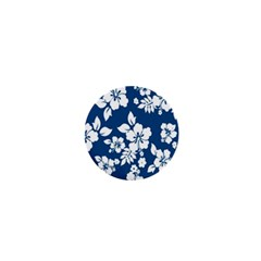 Hibiscus Flowers Seamless Blue White Hawaiian 1  Mini Buttons by Mariart