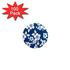 Hibiscus Flowers Seamless Blue White Hawaiian 1  Mini Magnets (100 Pack)  by Mariart