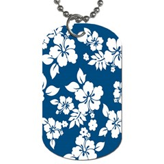 Hibiscus Flowers Seamless Blue White Hawaiian Dog Tag (one Side) by Mariart