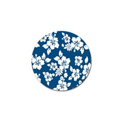 Hibiscus Flowers Seamless Blue White Hawaiian Golf Ball Marker (10 Pack) by Mariart