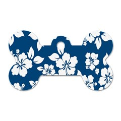 Hibiscus Flowers Seamless Blue White Hawaiian Dog Tag Bone (two Sides) by Mariart