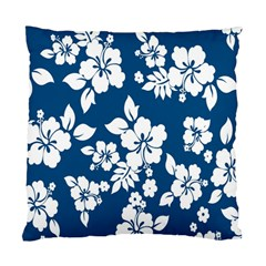 Hibiscus Flowers Seamless Blue White Hawaiian Standard Cushion Case (one Side) by Mariart
