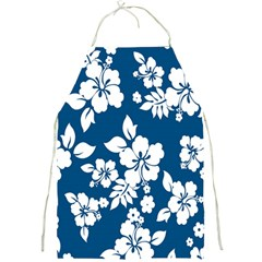 Hibiscus Flowers Seamless Blue White Hawaiian Full Print Aprons by Mariart