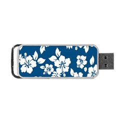 Hibiscus Flowers Seamless Blue White Hawaiian Portable Usb Flash (two Sides) by Mariart