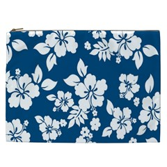 Hibiscus Flowers Seamless Blue White Hawaiian Cosmetic Bag (xxl)  by Mariart