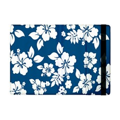 Hibiscus Flowers Seamless Blue White Hawaiian Apple Ipad Mini Flip Case by Mariart