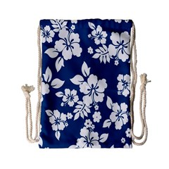 Hibiscus Flowers Seamless Blue White Hawaiian Drawstring Bag (small) by Mariart
