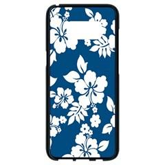 Hibiscus Flowers Seamless Blue White Hawaiian Samsung Galaxy S8 Black Seamless Case by Mariart
