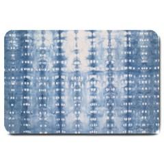 Indigo Grey Tie Dye Kaleidoscope Opaque Color Large Doormat  by Mariart