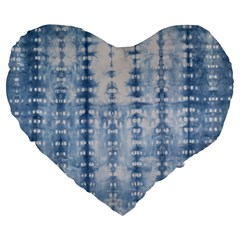 Indigo Grey Tie Dye Kaleidoscope Opaque Color Large 19  Premium Heart Shape Cushions by Mariart