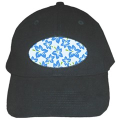 Hibiscus Flowers Seamless Blue Black Cap by Mariart