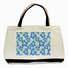 Hibiscus Flowers Seamless Blue Basic Tote Bag by Mariart