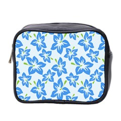 Hibiscus Flowers Seamless Blue Mini Toiletries Bag 2 Side by Mariart