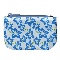 Hibiscus Flowers Seamless Blue Large Coin Purse by Mariart