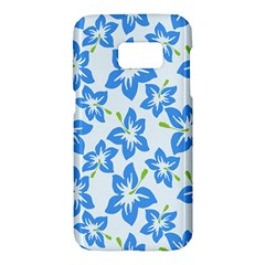 Hibiscus Flowers Seamless Blue Samsung Galaxy S7 Hardshell Case  by Mariart