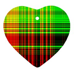 Line Light Neon Red Green Heart Ornament (two Sides) by Mariart