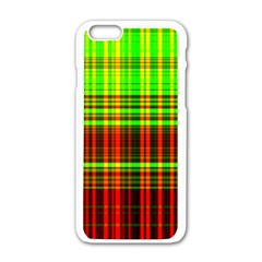 Line Light Neon Red Green Apple Iphone 6/6s White Enamel Case by Mariart