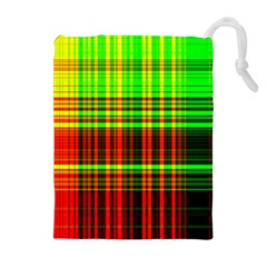 Line Light Neon Red Green Drawstring Pouches (extra Large) by Mariart