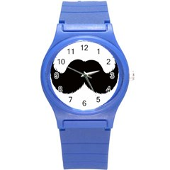 Mustache Owl Hair Black Man Round Plastic Sport Watch (s) by Mariart