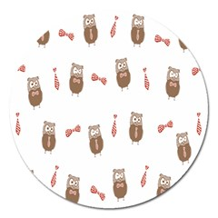 Insulated Owl Tie Bow Scattered Bird Magnet 5  (round) by Mariart
