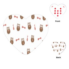 Insulated Owl Tie Bow Scattered Bird Playing Cards (heart)  by Mariart