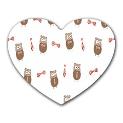 Insulated Owl Tie Bow Scattered Bird Heart Mousepads by Mariart
