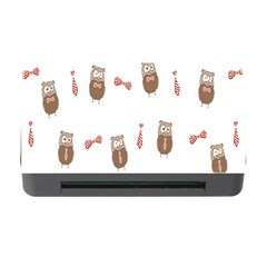 Insulated Owl Tie Bow Scattered Bird Memory Card Reader With Cf by Mariart