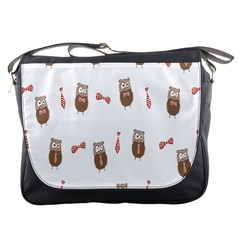 Insulated Owl Tie Bow Scattered Bird Messenger Bags by Mariart