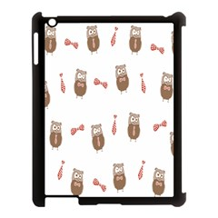 Insulated Owl Tie Bow Scattered Bird Apple iPad 3/4 Case (Black) by Mariart