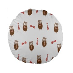Insulated Owl Tie Bow Scattered Bird Standard 15  Premium Round Cushions by Mariart