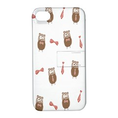 Insulated Owl Tie Bow Scattered Bird Apple Iphone 4/4s Hardshell Case With Stand by Mariart