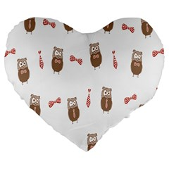 Insulated Owl Tie Bow Scattered Bird Large 19  Premium Flano Heart Shape Cushions by Mariart