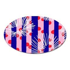 Line Vertical Polka Dots Circle Flower Blue Pink White Oval Magnet
