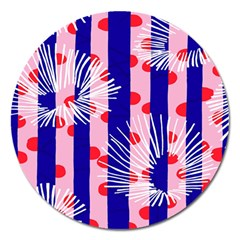 Line Vertical Polka Dots Circle Flower Blue Pink White Magnet 5  (round) by Mariart
