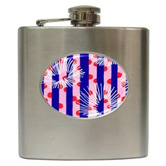 Line Vertical Polka Dots Circle Flower Blue Pink White Hip Flask (6 Oz) by Mariart