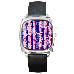 Line Vertical Polka Dots Circle Flower Blue Pink White Square Metal Watch by Mariart